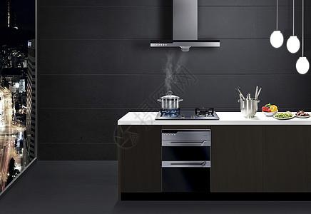 现代黑白灰厨房效果图图片