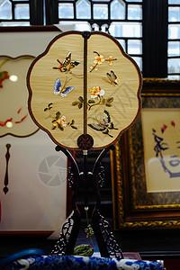 蝴蝶刺绣扇子图片