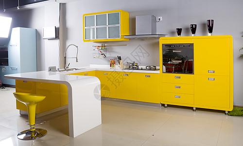 黄色橱柜背景图片