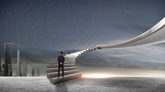 阶梯上的商务人图片