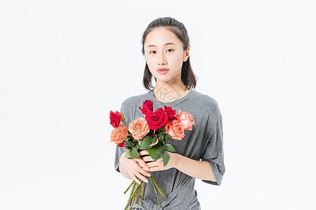 文艺青年和花图片