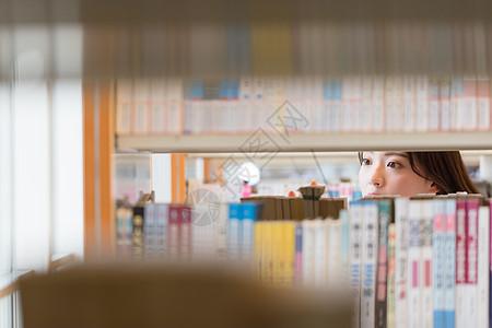 图书馆小清新美女看书图片