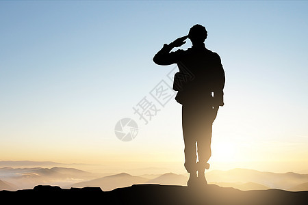 士兵敬礼图片