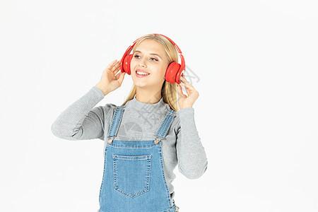 外国美女听听力图片
