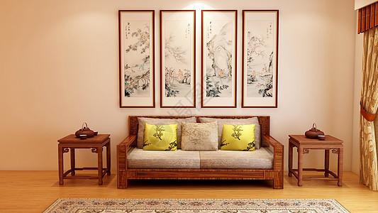中式室内家居效果图图片