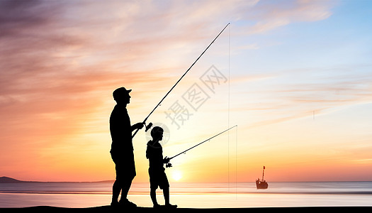 父子钓鱼图片