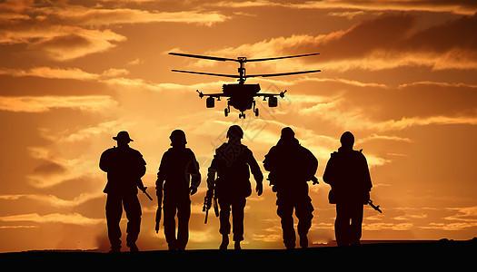 一个军人在夕阳下图片_战争演习剪影图片素材-正版创意图片400558675-摄图网