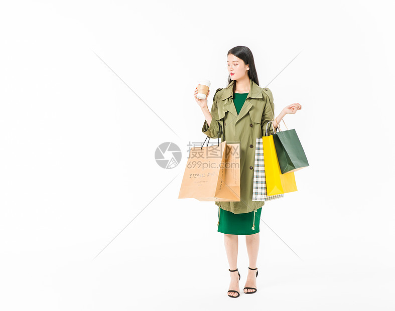 美女购物喝咖啡图片
