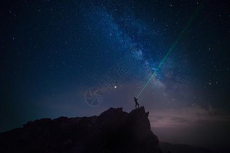 仙居顶的银河与流星图片