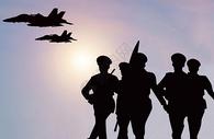 军事演习剪影图片