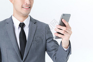 商务男性使用手机白底图片