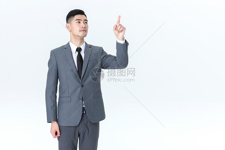 商务男性手势动作白底图片