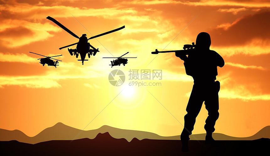 夕阳下军人剪影图片