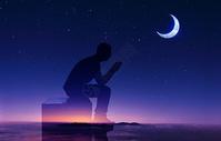 夜空下的思考图片