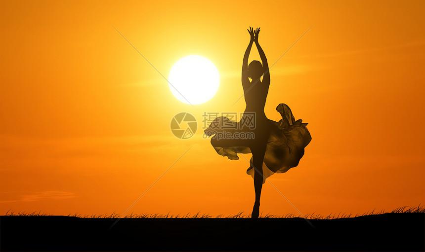 夕阳下跳舞图片