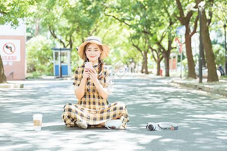 阳光下青春文艺女孩图片