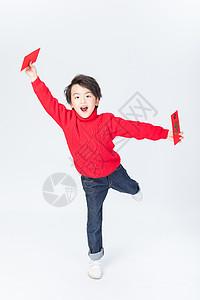新春儿童手拿红包图片