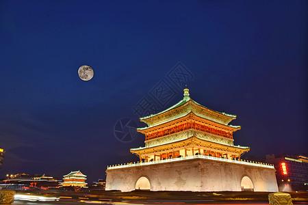 夜幕下的西安钟楼图片