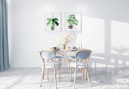 现代简洁风客厅用餐室内设计效果图图片