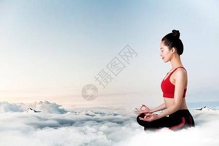 云端上打坐的美女图片