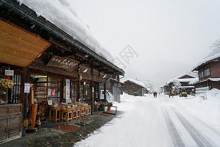 日本白川乡雪景图片