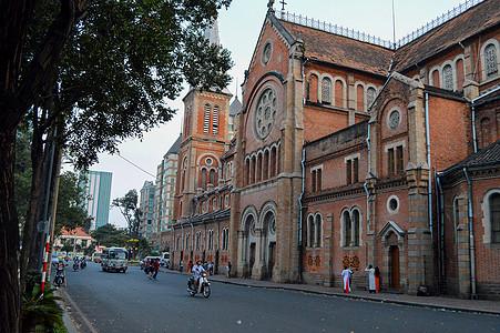 越南胡志明市天主教教堂高清图片
