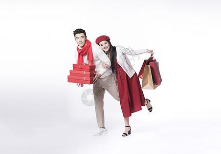 喜庆情侣新年购物图片