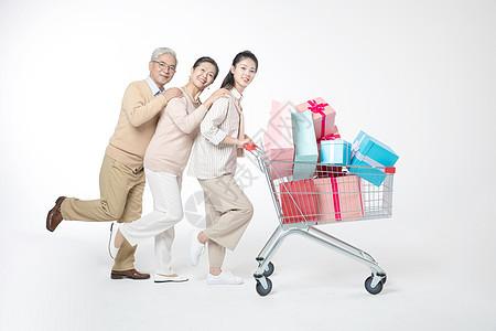 女儿父母购物车购物图片