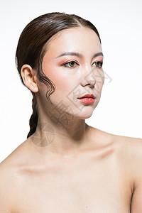 创意彩妆脸部特写图片
