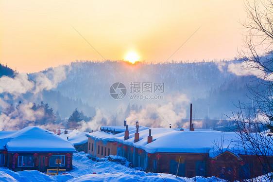 黑龙江雪乡日出图片