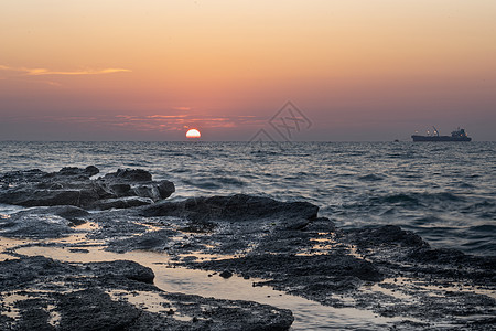 涠洲岛海上落日图片
