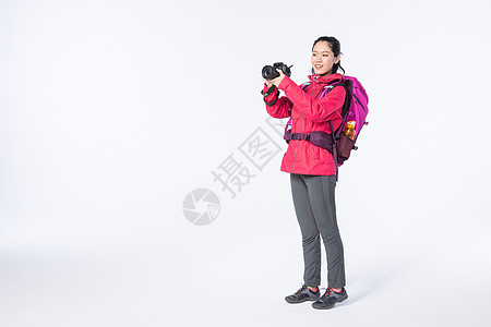 运动女性远足摄影图片