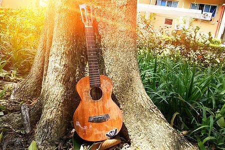 秋天立秋拿着小清新的尤克里里吉他去秋色唯美的田园草坪秋游图片