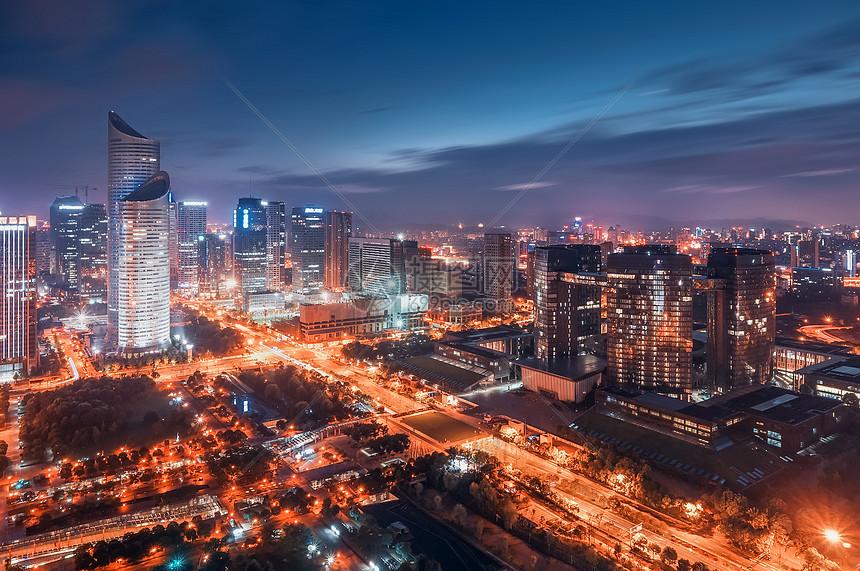 钱江新城夜景图片