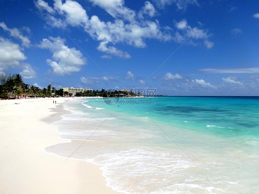 巴巴多斯美丽的碧海与白沙滩图片