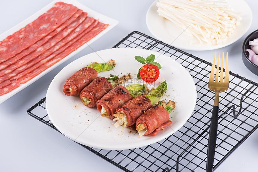 美味的培根金针菇卷图片