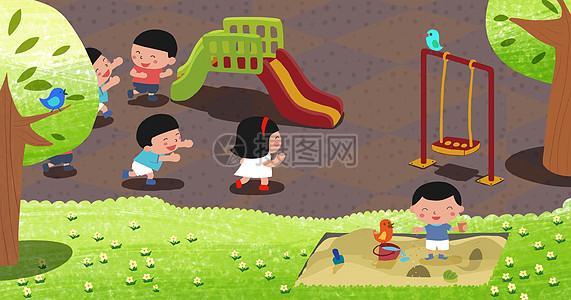 孩子们在游乐场玩耍图片