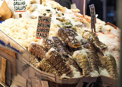 美国西雅图派克市场海鲜龙虾尾图片