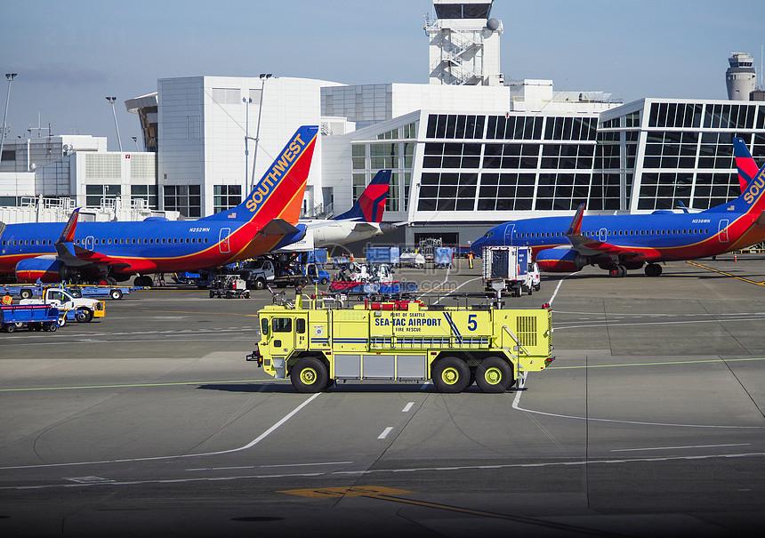 西雅图机场停机坪图片