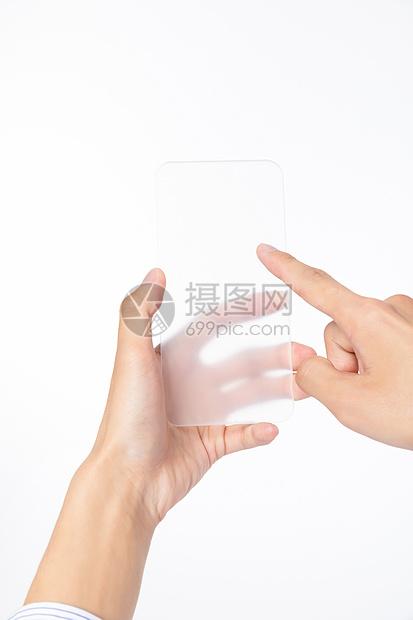 触碰透明手机图片