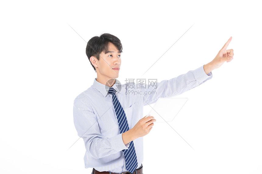 商务男士点击动作图片
