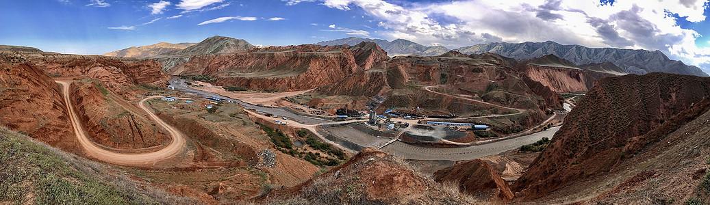新疆山脉风光全景长图图片