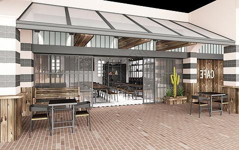 现代原木咖啡厅图片