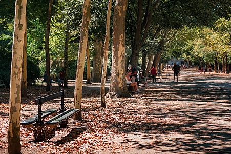 法国海德堡公园长椅上休闲的人图片