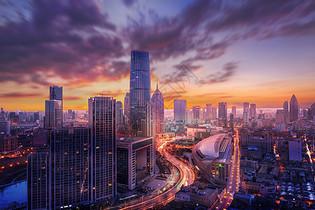 落日城市图片