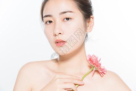 美妆女性与花图片