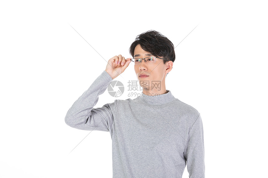 戴眼镜男性形象图片