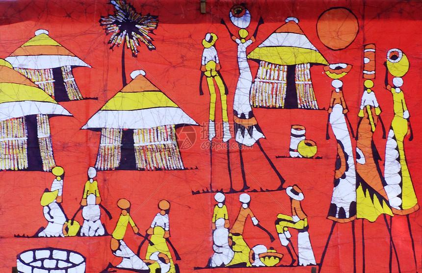 莫桑比克风光非洲特色艺术画蜡染图片