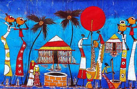 莫桑比克海峡风光非洲特色艺术画蜡染图片