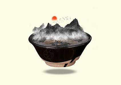 瓷碗中的山水图片
